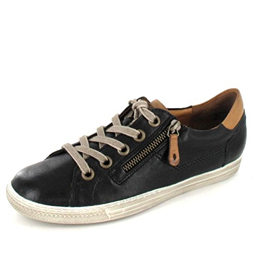 Paul Green 4128-042 Damen Sneaker aus hochwertigem Leder Filigrane Kontrastnähte, Groesse 5, schwarz