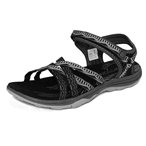 Grition sandali sportivi donna, signora escursionismo scarpe acqua estate piatto sandali incrociati open toe regolabile scarpe passeggio nero rosa grigio sabbia (eu 39, nero/grigio)
