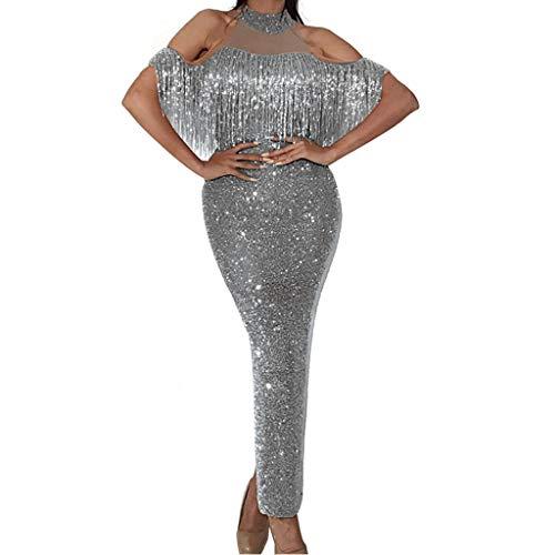 Pailletten Abendkleid Damen Elegantes Kleid Mesh-Kleid Glitzer Partykleid Kaltes Schulterkleid Damen Maxi Kleider Cocktailkleid Tanz Ballkleid Bodycon Spitze Neckholder-Kleid