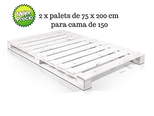 Dydaya 2 x Palets Pintados de Blanco de 75 x 200 cm de Madera para Cama de 150 x 200 & Estructura Cama