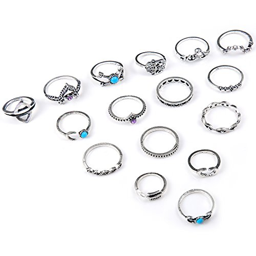 Ringe Set, Czemo 16 Stück Vintage Silber Midi Ringe Damen Knuckle Ring Boho Fingerring-Set - Antik-ring-set