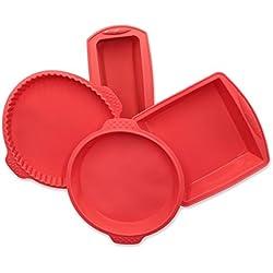ZOLLNER24 Set di 4 stampi in Silicone Antiaderente, Colore Rosso