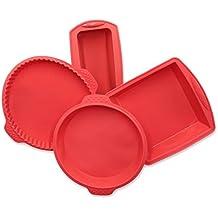 """ZOLLNER24 4 moldes de repostería de silicona: molde rectangular de 21x8,5x6 cm, molde cuadrado de 18x19x5, molde circular de 22 cm de diámetro y molde para quiche de 25 cm de diámetro, serie """"Back-4"""""""