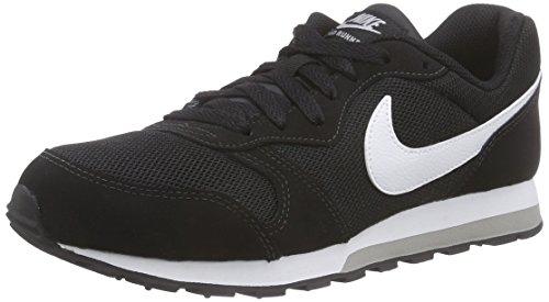 Nike Jungen Md Runner 2 (Gs) Low-Top Schwarz (Black/White-Wolf Grey) 36 EU