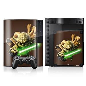 DeinDesign Skin kompatibel mit Sony Playstation 3 PS3 Aufkleber Folie Sticker Star Wars Merchandise Fanartikel Yoda Lichtschwert