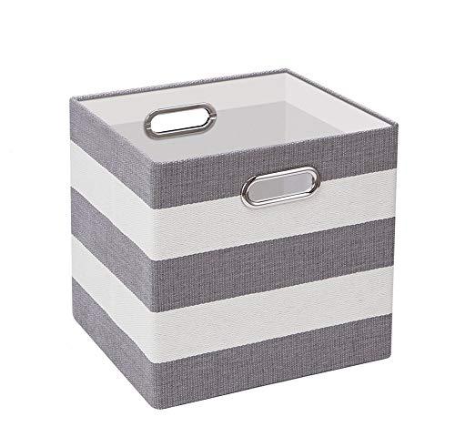 Sepsg Aufbewahrungskorb Faltbarer Aufbewahrungsbox Streifen Baumwolle Cube mit Griff für Kleidung, Bücher und Spielzeug