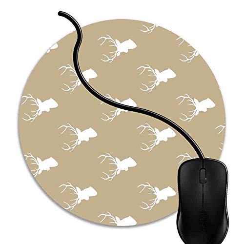 Mauspad Tan Deer Silhouette Deg, Runde Gaming Mauspad Matte Reibungslos Weich Rutschfester Gummi Basis für PC Laptop 1J621