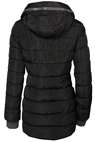 Winter Damen STEPP Mantel LANG Jacke GEFÜTTERT Kapuze ÄRMEL MIT DAUMENSCHLAUFEN, Farbe:Schwarz, Größe:L - 5