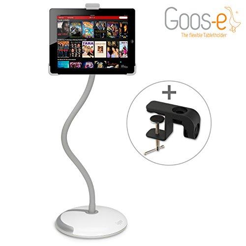 """Goos-e® - Tablet Halterung - iPad Halterung - Tablet Ständer - Tabletständer - Tablethalter - Tablet Stand - iPad Pro 9,7"""" Halterung - iPad Pro 9,7"""" Stand - Halterung für Tablet & E-Reader - 9-10-11 Zoll - KOMPLETTPAKET - WEIß"""