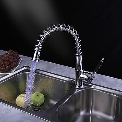 ottone, pull down rubinetto cucina con cambiamento di colore led - primavera