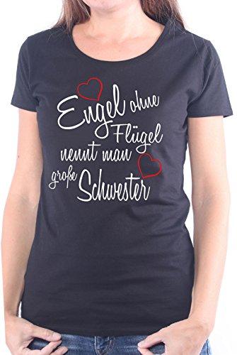 Mister Merchandise Ladies Damen Frauen T-Shirt Engel ohne Flügel nennt Man große Schwester Sister Familie Family Geburt Schwanger Baby Tee Mädchen Bedruckt Schwarz, M (Womens Schwarzer Engel-flügel-shirt)