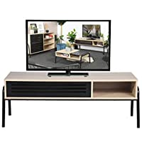 50 Inch TV Unit, Oak TV Cabinet with Hollow Storage Shelves , Wooden Modern TV Stand for Living Room, Bedroom, 49.6 X 15.7 X 17.5 Inch