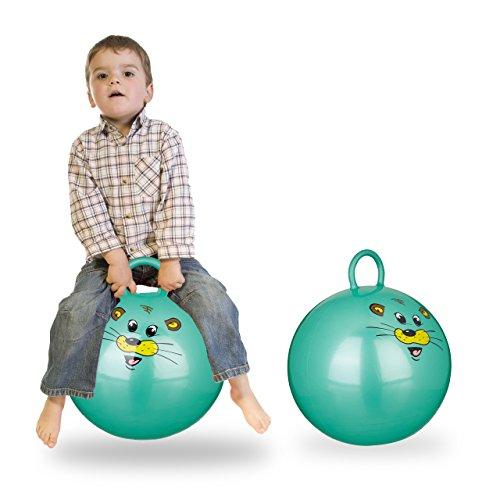 Relaxdays 2X Hüpfball Kinder, Maus, mit Griff, für Drinnen und Draußen, mit Tier-Motiv, Weich, 45 cm Durchmesser, Grün