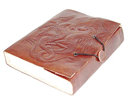 'ZAP Impex® fabricado en piel Diario Cuaderno elástico libro con Blank Paper Bag Cuaderno doble dragón piel Blank libro cuerda (7x 5)