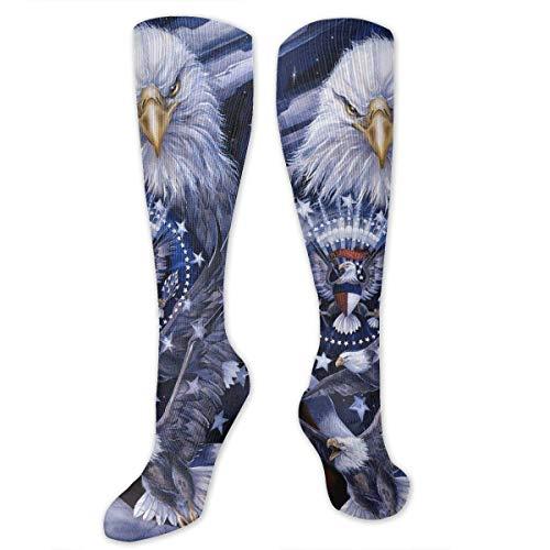 (NFHRREEUR Knee High Socks American Bald Eagles Compression Socks Sports Athletic Socks Tube Stockings Long Socks Funny Personalized Gift Socks for Men Women Teens Boys Girls)