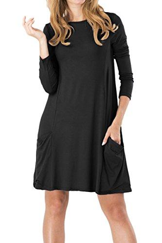 YMING Frauen Mehrfarbige beiläufige lange Hülse loses T-Shirt Schwingen-Kleid (S-5XL) Schwarz