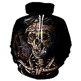 TUWEN Das Sweatshirt Der MäNner EinäUgiger Totenkopf 3D Gedruckte Kapuzen MäNnlichen Kleiderschrank
