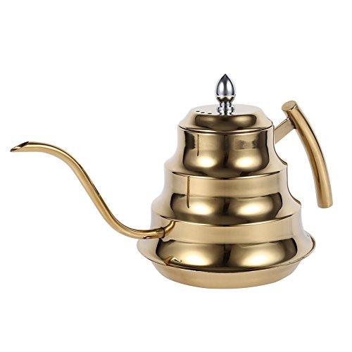 Wasserkessel Edelstahl Kaffeekanne,ASHATA 1.2L Edelstahl Kaffeekessel Wasserkessel...
