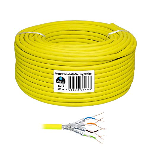 25m cat 7 - Extra Dünn - HB Digital Basic Netzwerkkabel LAN Verlegekabel Cabel Kupfer Profi S/FTP PIMF LSZH POE Halogenfrei gelb RoHS-Compliant cat. 7 cat.7 cat7 (Cisco Wireless-netzwerk-adapter)