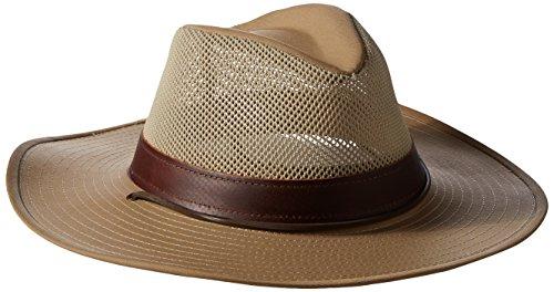 Henschel Herren Hiker Crushable Mesh Breezer mit Lederband UPF 50 Hut, Unisex-Erwachsene Herren, Khaki, Small (Männer Henschel-hüte Für)