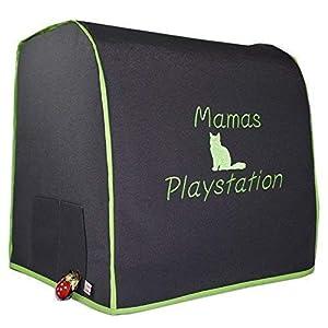 Abdeckhaube, für Thermomix TM 5, TM 6, MIT Varoma, Mod. Mama's Playstation, Katze, Dunkelgrau mit apfelgrün, Schutzhaube, Hochzeit, Handmade, Personalisiert,