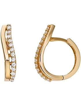 Creole 333 Gold Damen Ohrringe 8 Karat Gelbgold Zirkonia Länge 15,50mm NEU (159506)