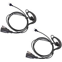 2 x Coodio iCom Radio Auriculares 2 Pin Forma G Micro-Auricular Micrófono Policía Seguridad y Bodyguard Para 2-Pin iCom Plug Walkie-Talkie Transceptor Emisor y Receptor PMR