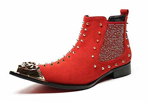 Männer Rivet Punk Stiefel Mode Spitzen Cowboy Stiefel Metall Dekoration Stiefel Bühne Stiefel Rot ( Color : Rot , Größe : 40 ) (Männer Cowboy-stiefel)