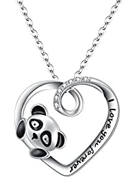 FANZE Women Jewerly-925 Sterling Silver Cubic Zirconia Cute Panda Love Heart Pendant Necklce- I Love You Forever, Rolo Chain 18''