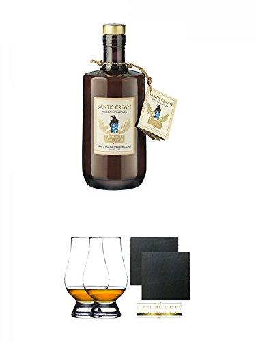 Säntis Marwees Malt Likör (18%) 0,5 Liter + The Glencairn Glass Whisky Glas Stölzle 2 Stück + Schiefer Glasuntersetzer eckig ca. 9,5 cm Ø 2 Stück -
