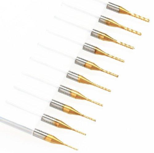 SHINA 10tlg.Titanium CNC Bohrer Set Metallbohrer Spiralbohrer Handspiralbohrer 0.6mm - 1.5mm