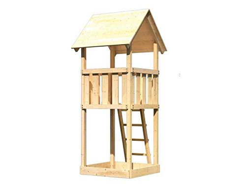 Karibu Spielturm Anna mit Satteldach naturbelassen