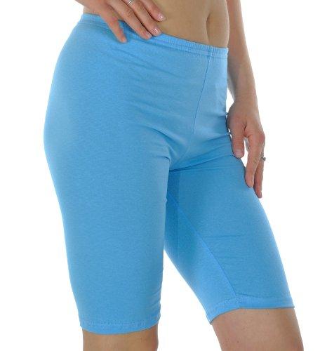 Radfahren Gym Laufen Yoga Hose Leggins, knielang, Länge: 95% Baumwolle, Intensive Farben, Größen: S-XXXL Mehrfarbig - Hellblau