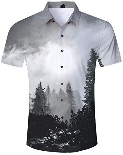 TUONROAD Hemd Herren Kurzarm Funny Grau 3D Gedruckt Muster Bunte Funky Shirt Hawaiihemd Sommerhemd Button Down Hawaihemden Strandhemd Hawaii Hemd Männer Jungen XL -