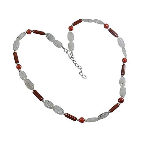 Silvestoo India Rutile Quartz, Coral & Jasper Necklace PG-124991
