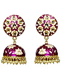 a424006b4 APRA Fashion Magenta & Gold -Toned Hand Painted Floral Traditional Jhumkas