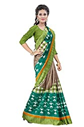 Glory Sarees Women's Bhagalpuri Art Silk Cotton Sarees(vnart25_green_beige)