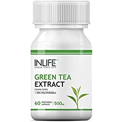 INLIFE Green Tea Extract for Weight Loss (Fat Burner) & Antioxidant with 50% Polyphenols, 500 mg - 60 Vegetarian Capsules