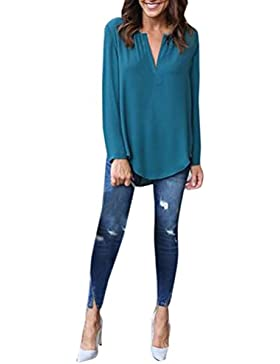 OverDose La manga larga floja de la blusa de la gasa de la manga de las mujeres de la manera remata la nueva blusa...