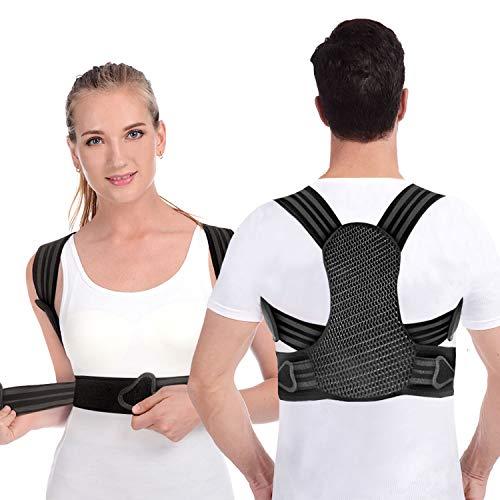 Haltungskorrektur,Rücken Geradehalter für Herren Damen und Kinder,mit 2 weichen Polster lindern Schulter, 2 herausnehmbare Schienen für starke Unterstützung,Rückenstabilisator Größenverstellbar