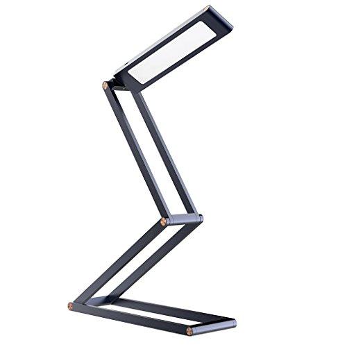 Lampada da tavolo led, slypnos luce da scrivania di lega d'alluminio, ricaricabile con usb(incluso), funziona 4 ore dopo ricaricato, girevole 360°, luce da parete/muro con gancio(incluso), grigio