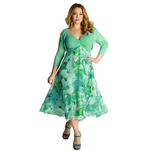 VJGOAL Damen Kleid, Frauen Plus Size Mode V-Ausschnitt Floral Maxi Abend Cocktail Party Hochzeit Boho Strand Frühling Sommerkleid (L / 42, U-grün)