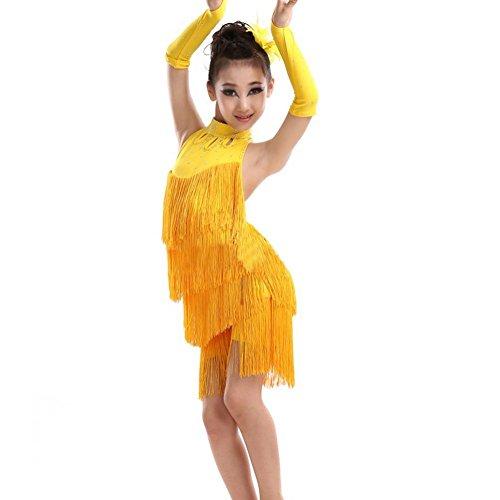 Mädchen Troddel Lateinisches Salsa Tanz Kleider Sleeveless Halter Tanz Kostüm 4-11 Jahr