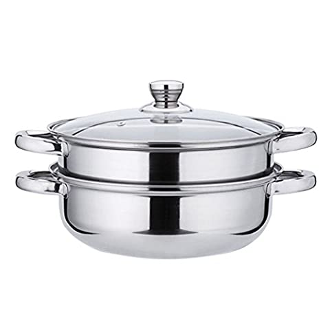 Dreammy Stainless Steel 28cm Soup Steamer Cookware Set Double Glass Cover