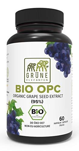 Grüne Elefanten's BIO OPC Traubenkernextrakt - Kerne aus Frankreich, 390mg in Glasflaschen, 60 vegane Kapseln - Made in Germany