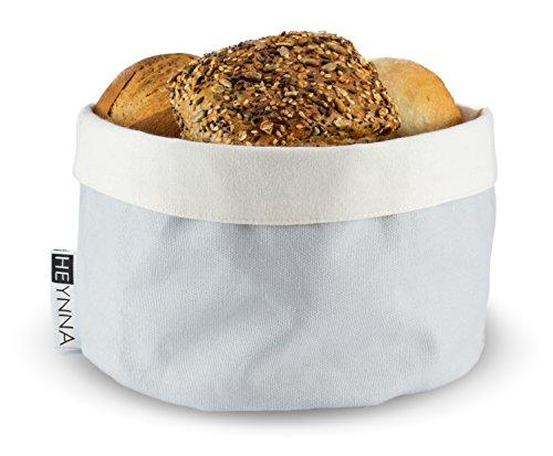 HEYNNA Premium Brotkorb Stoff - Brötchenkorb als Aufbewahrung von Toastbrot, Brötchen, Gebäck und Brot - 100% Baumwolle rund 20cm Ø (grau / creme)