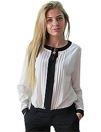 Frauen stilvolle elegante noble weiße und schwarze lange Ärmel gestrippt Bluse Größe 42, Größe 42-44.