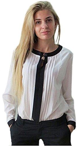 Frauen stilvolle elegante noble weiße und schwarze Langarmbluse Größe 42 abgestreift.