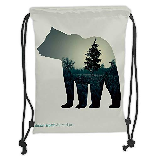 Trsdshorts Drawstring Backpacks Bags,Cabin Decor,Line Icon of Bear and Always Respect Mother Nature Text Dark Forest Decorative,Black Eggshell Grey Soft Satin,5 Liter Capacity,Adjustable STRI