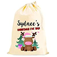 The Lazy Cow Personalised Christmas Eve gift bag SACK (Pink)